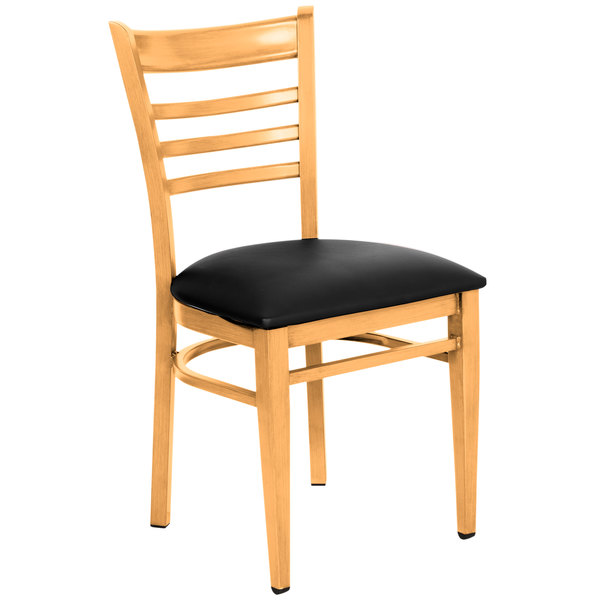 Preassembled Lancaster Table & Seating Spartan Series Metal Ladder Back Chair with Natural Wood Grain Finish and Black Vinyl Seat