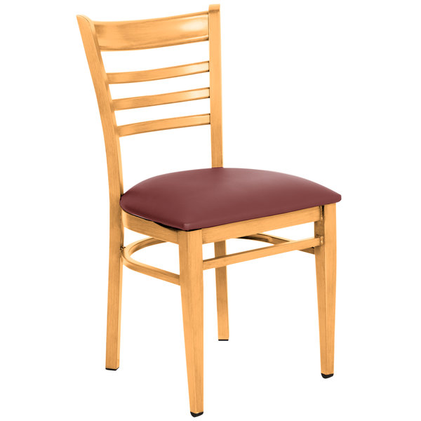 Detached Seat Lancaster Table & Seating Spartan Series Metal Ladder Back Chair with Natural Wood Grain Finish and Burgundy Vinyl Seat