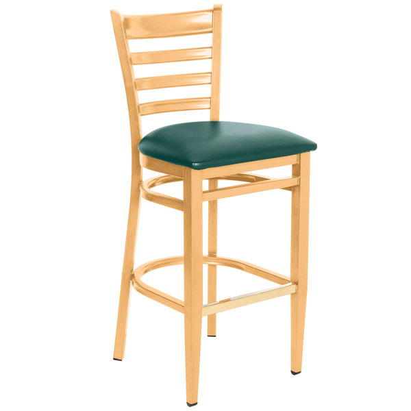 Preassembled Lancaster Table & Seating Spartan Series Bar Height Metal Ladder Back Chair with Natural Wood Grain Finish and Green Vinyl Seat