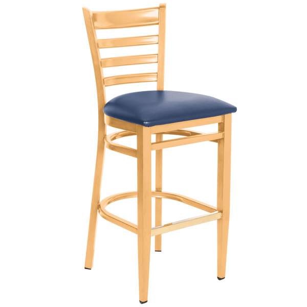 Detached Seat Lancaster Table & Seating Spartan Series Bar Height Metal Ladder Back Chair with Natural Wood Grain Finish and Navy Vinyl Seat