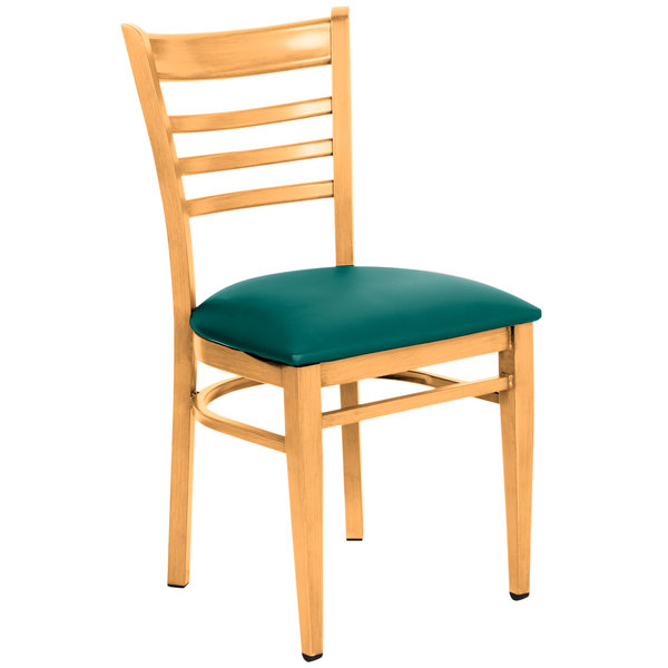 Detached Seat Lancaster Table & Seating Spartan Series Metal Ladder Back Chair with Natural Wood Grain Finish and Green Vinyl Seat