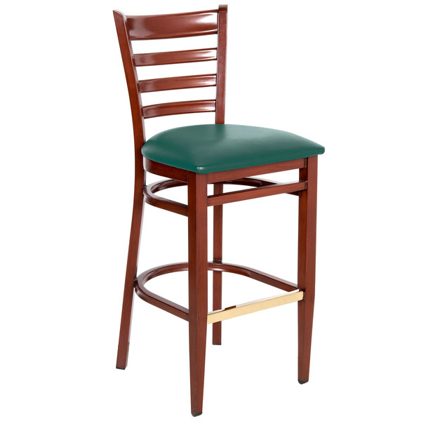 Assembled Lancaster Table & Seating Spartan Series Bar Height Metal Ladder Back Chair with Mahogany Wood Grain Finish and Green Vinyl Seat