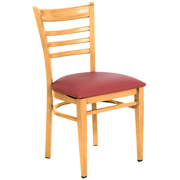 Knocked Down Lancaster Table & Seating Spartan Series Metal Ladder Back Chair with Natural Wood Grain Finish and Red Vinyl Seat
