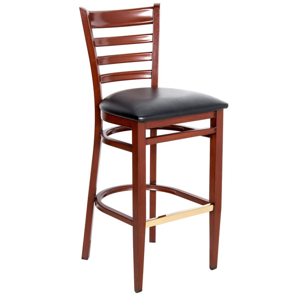 Detached Seat Lancaster Table & Seating Spartan Series Bar Height Metal Ladder Back Chair with Mahogany Wood Grain Finish and Black Vinyl Seat