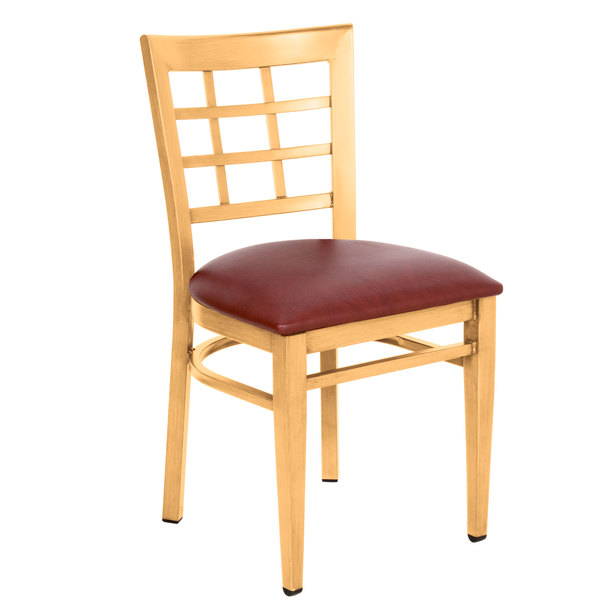 Preassembled Lancaster Table & Seating Spartan Series Metal Window Back Chair with Natural Wood Grain Finish and Burgundy Vinyl Seat