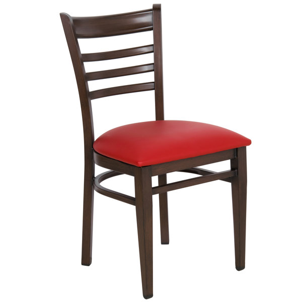 Detached Seat Lancaster Table & Seating Spartan Series Metal Ladder Back Chair with Walnut Wood Grain Finish and Red Vinyl Seat