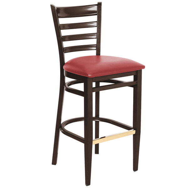 Detached Seat Lancaster Table & Seating Spartan Series Bar Height Metal Ladder Back Chair with Walnut Wood Grain Finish and Red Vinyl Seat