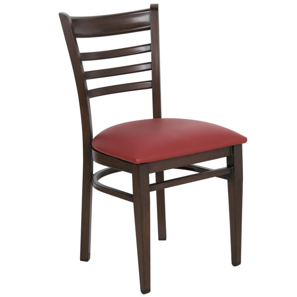 Preassembled Lancaster Table & Seating Spartan Series Metal Ladder Back Chair with Walnut Wood Grain Finish and Burgundy Vinyl Seat