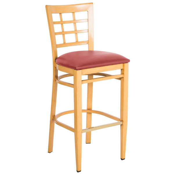 Preassembled Lancaster Table & Seating Spartan Series Bar Height Metal Window Back Chair with Natural Wood Grain Finish and Red Vinyl Seat