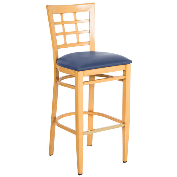 Preassembled Lancaster Table & Seating Spartan Series Bar Height Metal Window Back Chair with Natural Wood Grain Finish and Navy Vinyl Seat Main Image 1