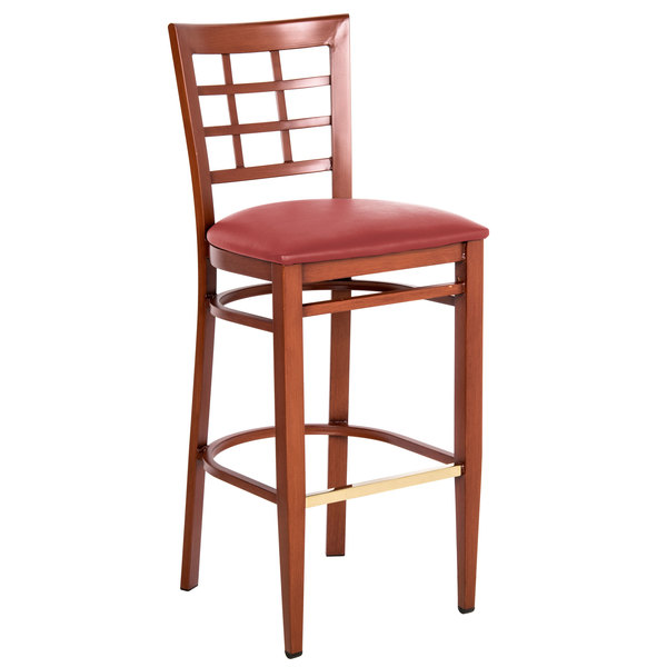 Preassembled Lancaster Table & Seating Spartan Series Bar Height Metal Window Back Chair with Mahogany Wood Grain Finish and Red Vinyl Seat