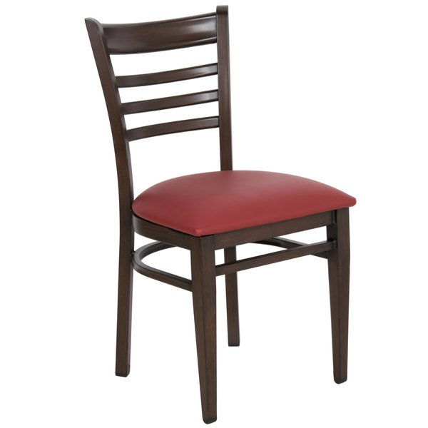 Detached Seat Lancaster Table & Seating Spartan Series Metal Ladder Back Chair with Walnut Wood Grain Finish and Burgundy Vinyl Seat