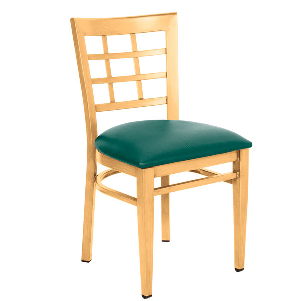 Assembled Lancaster Table & Seating Spartan Series Metal Window Back Chair with Natural Wood Grain Finish and Green Vinyl Seat