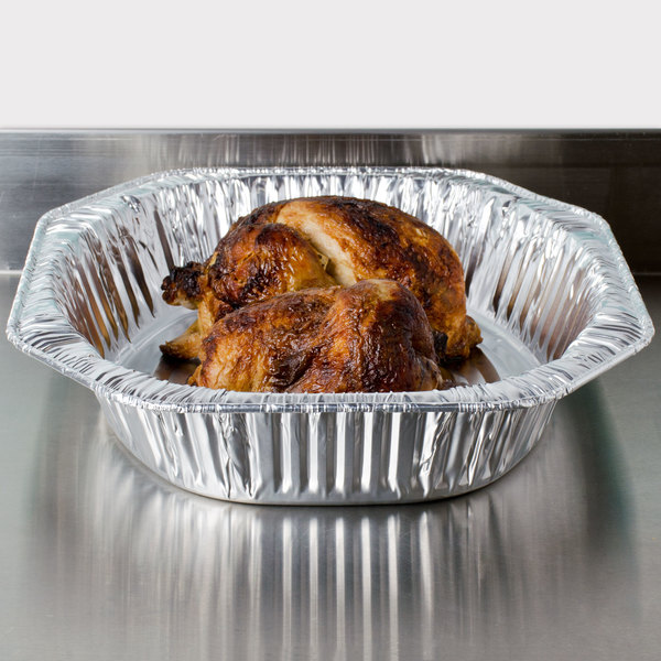 """Durable Packaging 40010 18"""" x 14"""" x 3"""" Oval Foil Roast Pan - 5/Pack Main Image 3"""