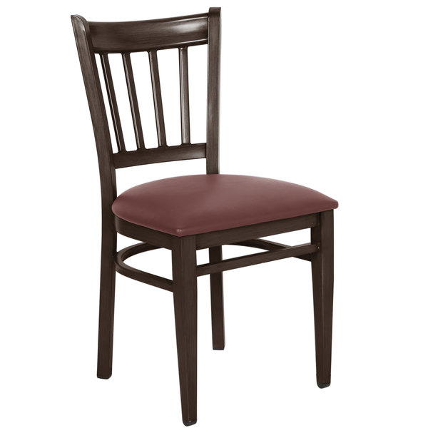 Preassembled Lancaster Table & Seating Spartan Series Metal Slat Back Chair with Walnut Wood Grain Finish and Burgundy Vinyl Seat