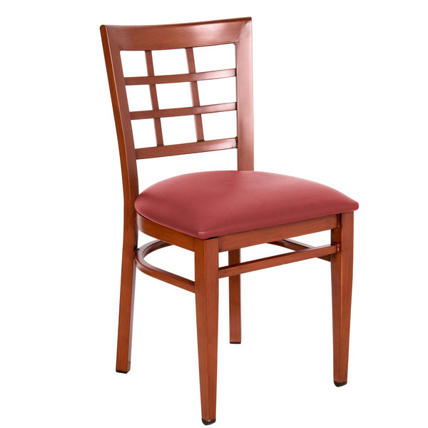 Detached Seat Lancaster Table & Seating Spartan Series Metal Window Back Chair with Mahogany Wood Grain Finish and Red Vinyl Seat