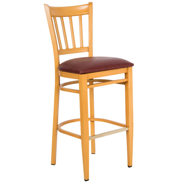 Preassembled Lancaster Table & Seating Spartan Series Bar Height Metal Slat Back Chair with Natural Wood Grain Finish and Burgundy Vinyl Seat
