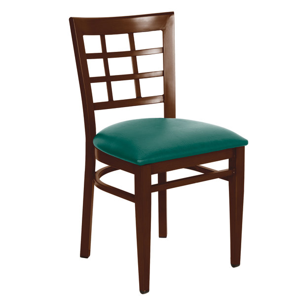 Preassembled Lancaster Table & Seating Spartan Series Metal Window Back Chair with Walnut Wood Grain Finish and Green Vinyl Seat