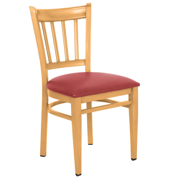 Preassembled Lancaster Table & Seating Spartan Series Metal Slat Back Chair with Natural Wood Grain Finish and Red Vinyl Seat