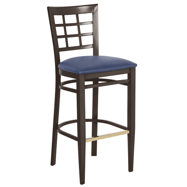 Assembled Lancaster Table & Seating Spartan Series Bar Height Metal Window Back Chair with Walnut Wood Grain Finish and Navy Vinyl Seat