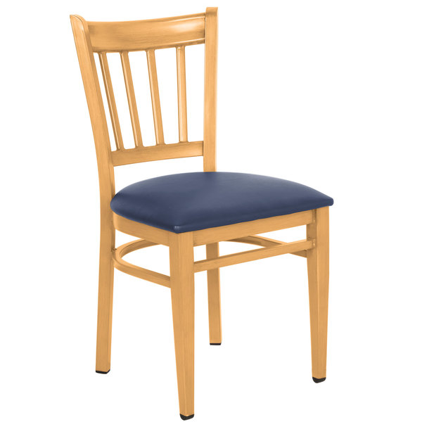 Assembled Lancaster Table & Seating Spartan Series Metal Slat Back Chair with Natural Wood Grain Finish and Navy Vinyl Seat
