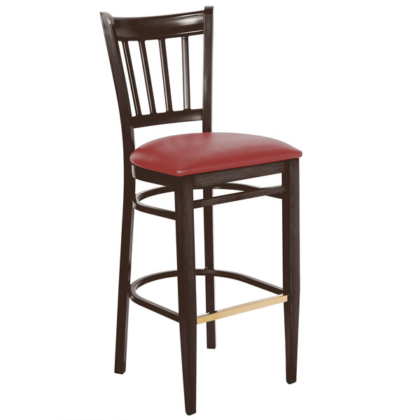 Preassembled Lancaster Table & Seating Spartan Series Bar Height Metal Slat Back Chair with Walnut Wood Grain Finish and Red Vinyl Seat