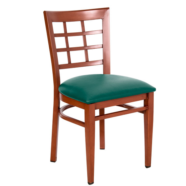 Knocked Down Lancaster Table & Seating Spartan Series Metal Window Back Chair with Mahogany Wood Grain Finish and Green Vinyl Seat