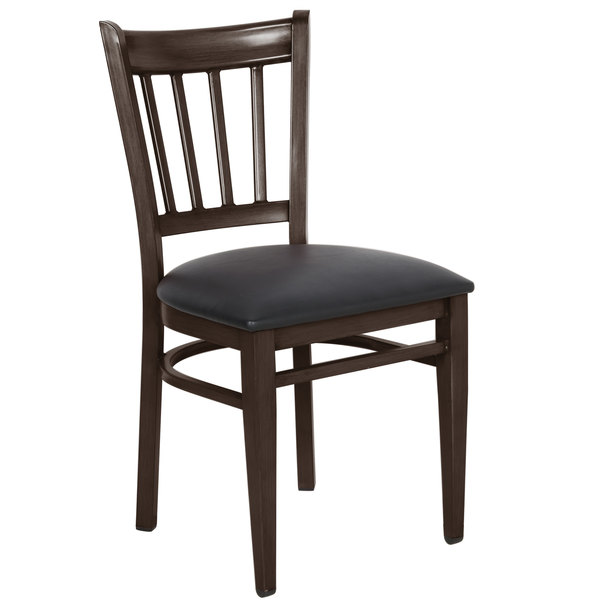 Preassembled Lancaster Table & Seating Spartan Series Metal Slat Back Chair with Walnut Wood Grain Finish and Black Vinyl Seat