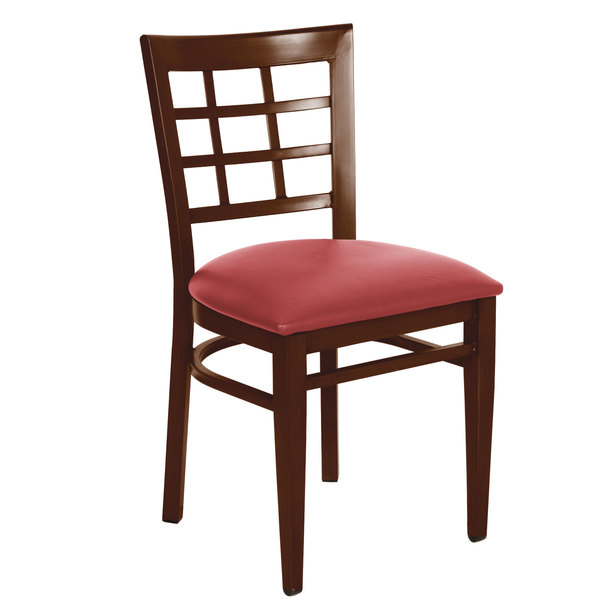 Preassembled Lancaster Table & Seating Spartan Series Metal Window Back Chair with Walnut Wood Grain Finish and Red Vinyl Seat