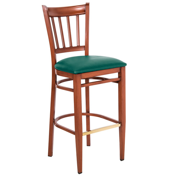 Assembled Lancaster Table & Seating Spartan Series Bar Height Metal Slat Back Chair with Mahogany Wood Grain Finish and Green Vinyl Seat