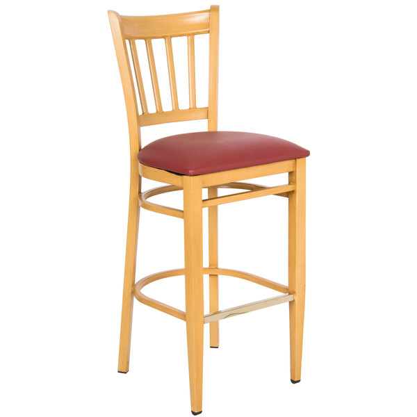 Preassembled Lancaster Table & Seating Spartan Series Bar Height Metal Slat Back Chair with Natural Wood Grain Finish and Red Vinyl Seat