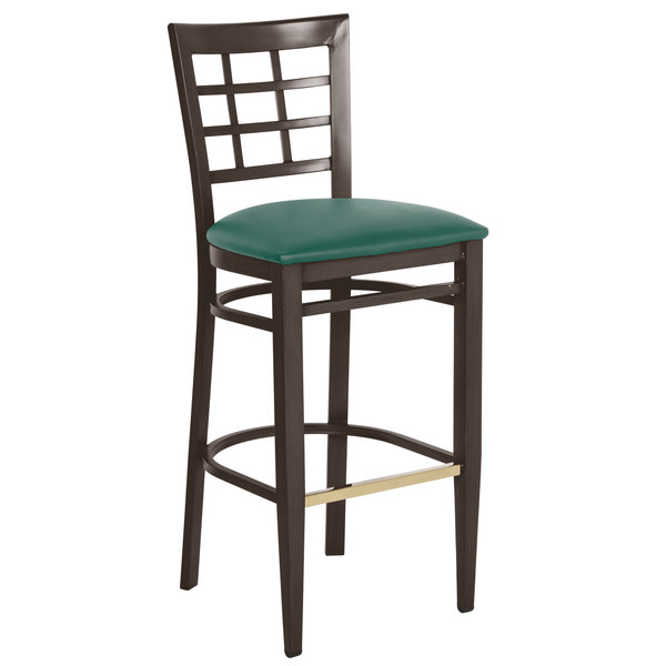 Preassembled Lancaster Table & Seating Spartan Series Bar Height Metal Window Back Chair with Walnut Wood Grain Finish and Green Vinyl Seat