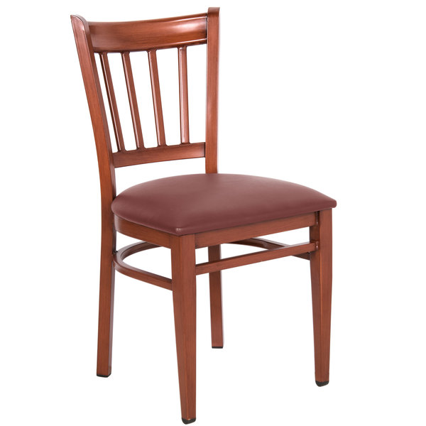 Preassembled Lancaster Table & Seating Spartan Series Metal Slat Back Chair with Mahogany Wood Grain Finish and Burgundy Vinyl Seat