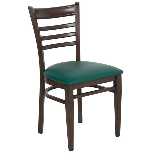 Lancaster Table & Seating Spartan Series Metal Ladder Back Chair with Walnut Wood Grain Finish and Green Vinyl Seat