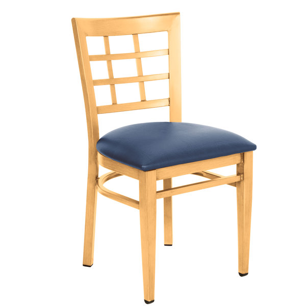 Knocked Down Lancaster Table & Seating Spartan Series Metal Window Back Chair with Natural Wood Grain Finish and Navy Vinyl Seat