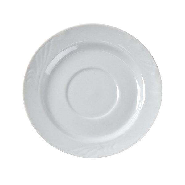 """CAC RSV-2 Roosevelt 6"""" Super White Porcelain Saucer - 36/Case Main Image 1"""