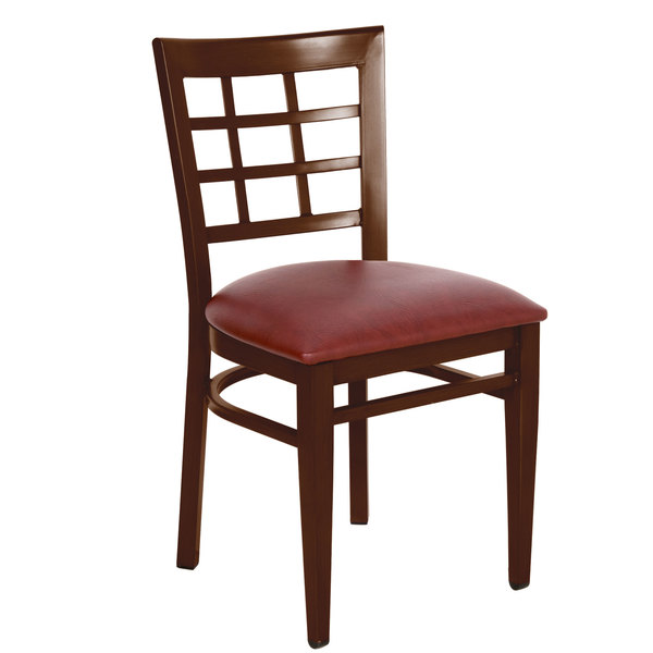 Detached Seat Lancaster Table & Seating Spartan Series Metal Window Back Chair with Walnut Wood Grain Finish and Burgundy Vinyl Seat