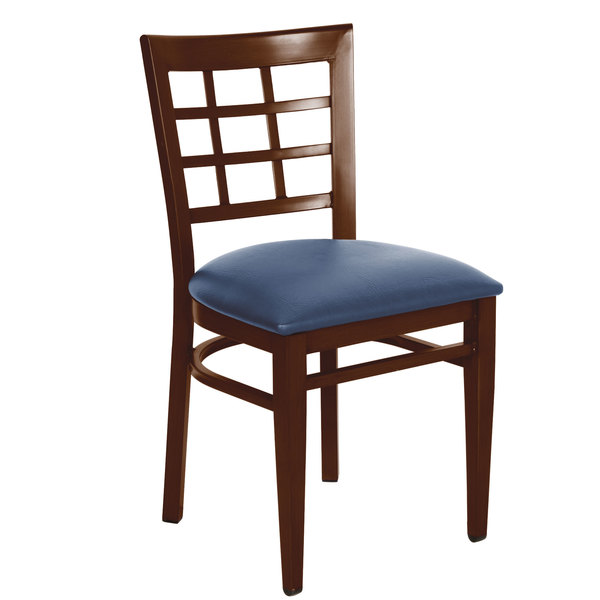 Detached Seat Lancaster Table & Seating Spartan Series Metal Window Back Chair with Walnut Wood Grain Finish and Navy Vinyl Seat