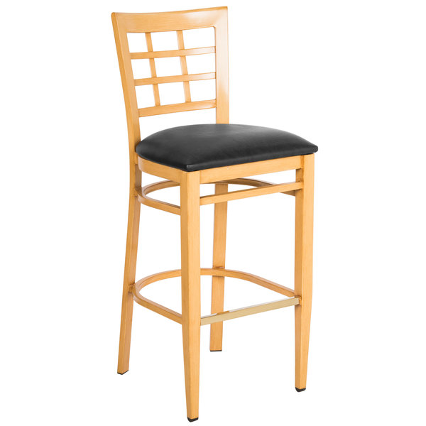 Lancaster Table & Seating Spartan Series Bar Height Metal Window Back Chair with Natural Wood Grain Finish and Black Vinyl Seat
