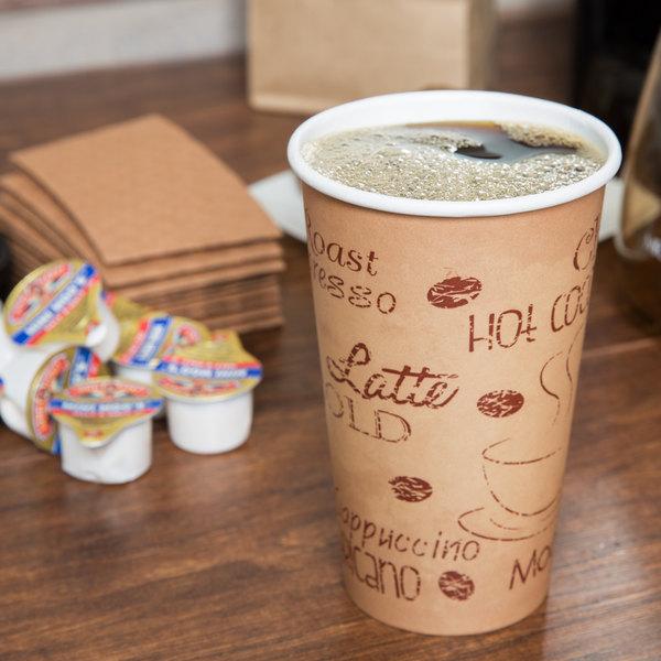Choice 16 oz. Café Print Poly Paper Hot Cup - 50/Pack