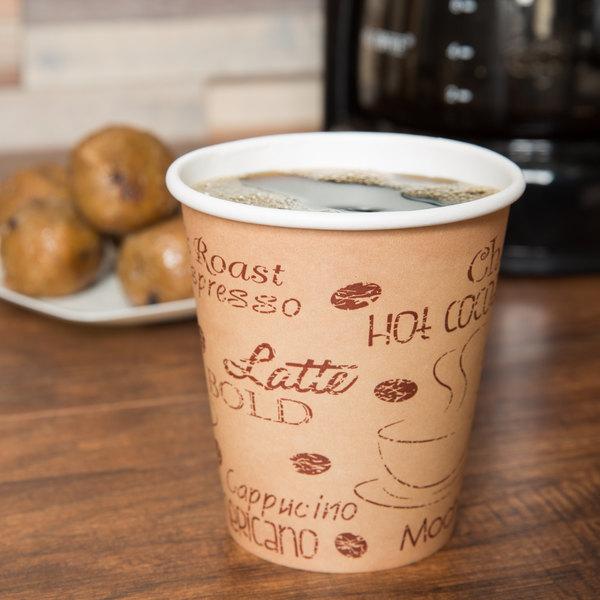 Choice 10 oz. Café Print Poly Paper Hot Cup - 1000/Case