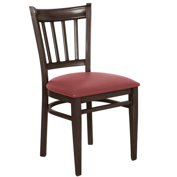 Detached Seat Lancaster Table & Seating Spartan Series Metal Slat Back Chair with Walnut Wood Grain Finish and Red Vinyl Seat