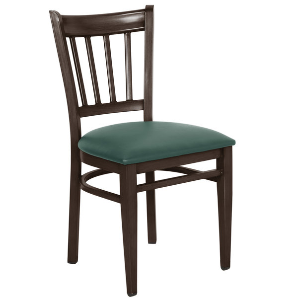 Knocked Down Lancaster Table & Seating Spartan Series Metal Slat Back Chair with Walnut Wood Grain Finish and Green Vinyl Seat