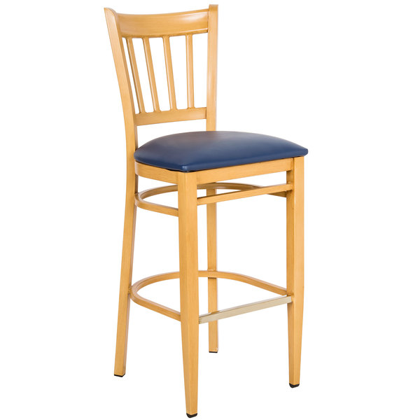 Knocked Down Lancaster Table & Seating Spartan Series Bar Height Metal Slat Back Chair with Natural Wood Grain Finish and Navy Vinyl Seat