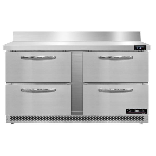 "Continental Refrigerator SWF60-BS-FB-D 60"" Four Drawer Front Breathing Worktop Freezer with Backsplash"