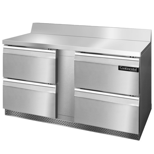 "Continental Refrigerator SWF60-BS-FB-D 60"" Four Drawer Front Breathing Worktop Freezer with Backsplash"