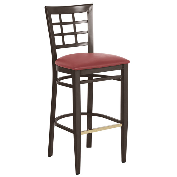 Lancaster Table & Seating Spartan Series Bar Height Metal Window Back Chair with Walnut Wood Grain Finish and Red Vinyl Seat Main Image 1
