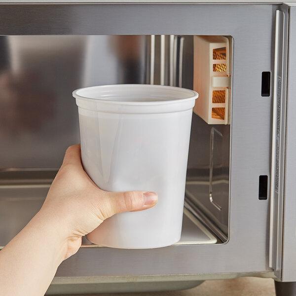 Choice 32 oz. White Microwavable Plastic Round Deli Container - 500/Case Main Image 2