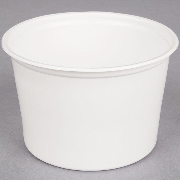 Choice 16 oz. White Microwavable Plastic Round Deli Container  - 500/Case