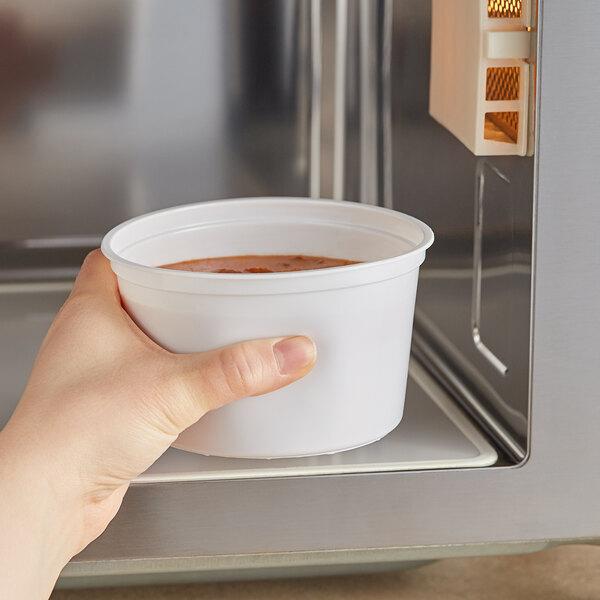 Choice 16 oz. White Microwavable Plastic Round Deli Container - 500/Case Main Image 2